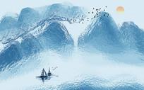 新中式水墨山水意境背景墙