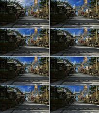 古代街道集市背景视频