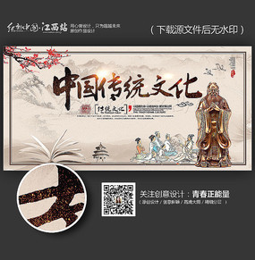 中国传统文化主题展板背景