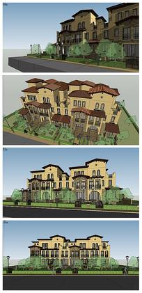 地中海风格联排别墅建筑