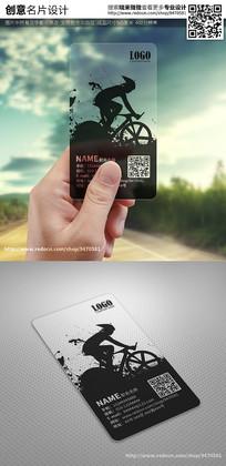 黑色水墨自行车赛车透明名片