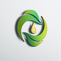 绿色环形水滴企业标志 CDR