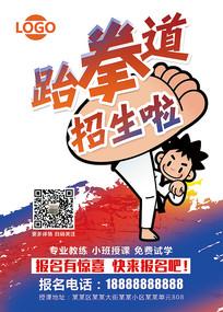 暑期班寒假班跆拳道招生海报