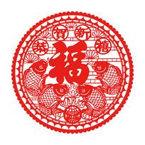 中国风福字剪纸图案窗花
