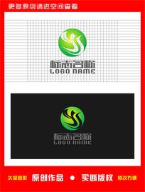YS字母SY绿叶飞鸟logo