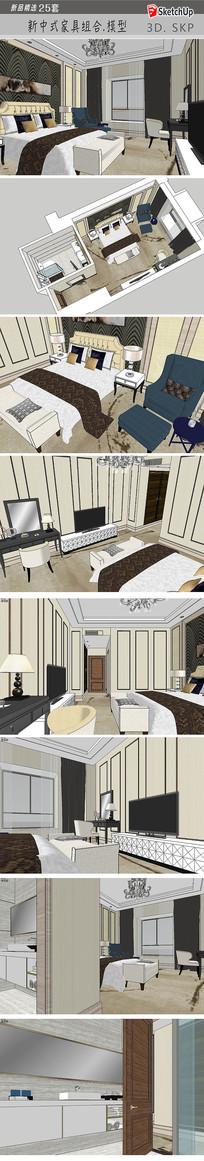 酒店客房SU模型