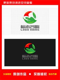 M字母标志飞鸟绿叶logo