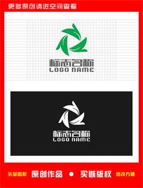 N字母Z绿叶旋转logo
