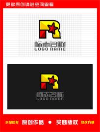 R字母标志五角星logo