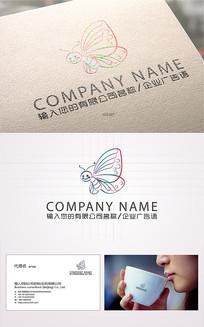 蝴蝶卡通形象ogo标志