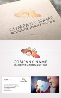 卡通吉祥物蝴蝶logo标志