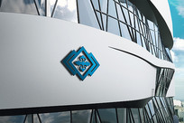蓝色山峰花纹企业标志