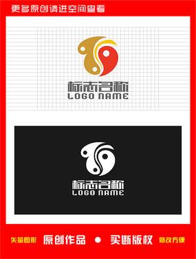 太极心形TD字母logo