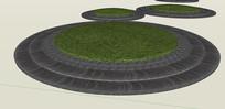 地面瓦片铺地设计SU模型 skp