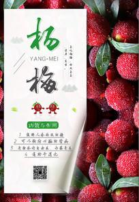 简约鲜嫩杨梅水果海报