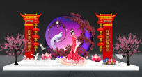 中秋节嫦娥月宫舞台美陈布置背景