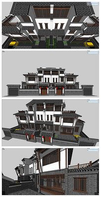 中式联排的中式建筑物