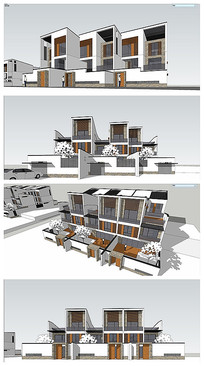 中式联排雪景建筑