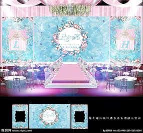主题婚礼T蓝粉色婚礼背景