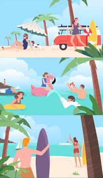 卡通旅游海滩度假AE模板