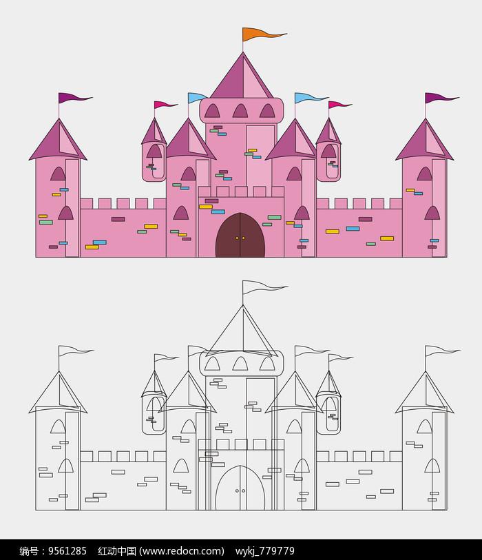 手绘卡通城堡