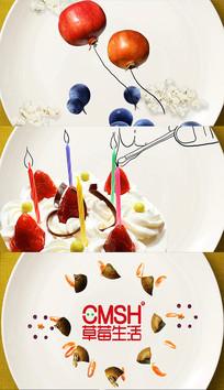 水果蛋糕线条创意包装AE模板