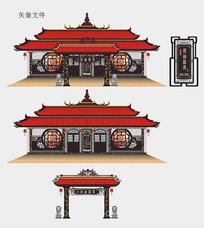 中国风饭店门面设计 CDR