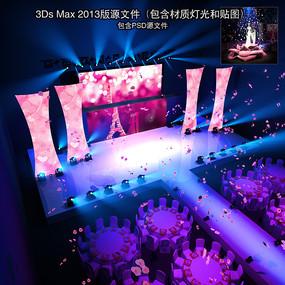 红色唯美婚礼双层舞台设计 max