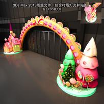 卡通糖果圣诞树门头布置