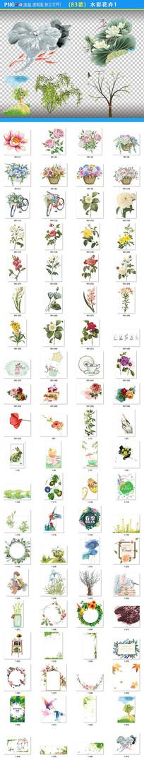 水彩叶子花卉边框png素材