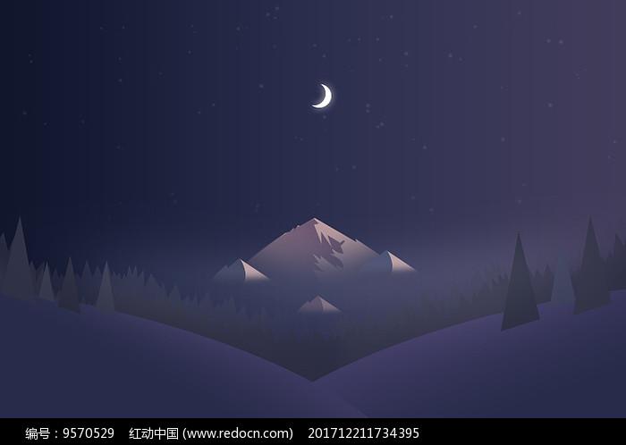夜晚星空山丘风景插画