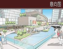 滨河商业街广场手绘图