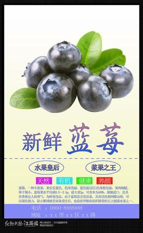 简约新鲜蓝莓海报宣传设计