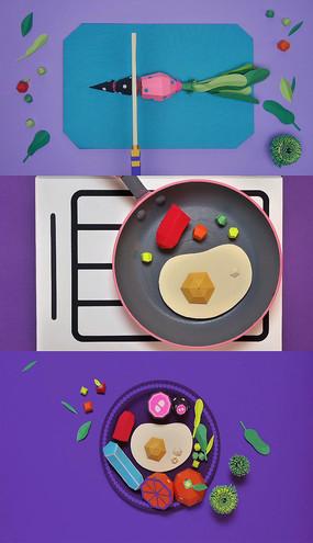 卡通美食折纸创意片头AE模板