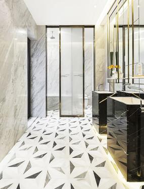 轻奢大理石地面洗手间效果图