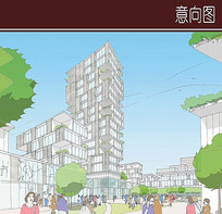 社区建筑手绘透视图