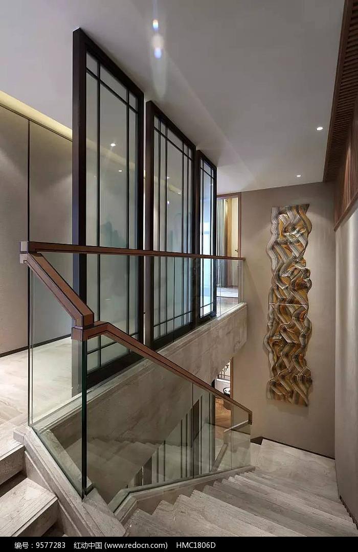 新中式大理石楼梯效果