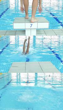 游泳跳水实拍视频素材