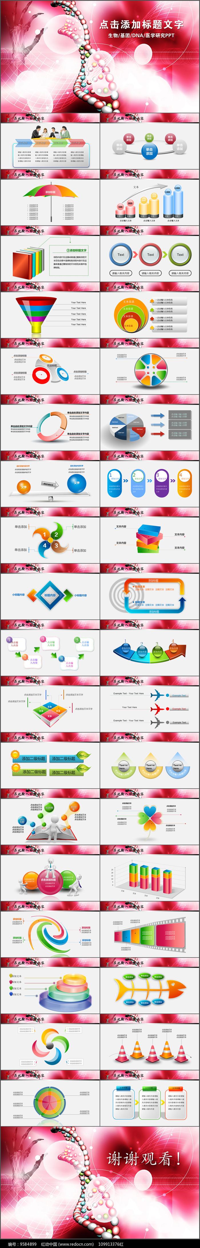 DNA基因化学化验PPT模板图片
