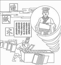 古代四大发明造纸术浮雕线稿