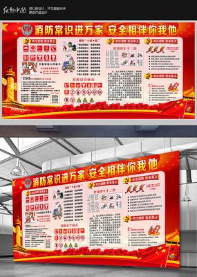 红色消防安全宣传展板设计