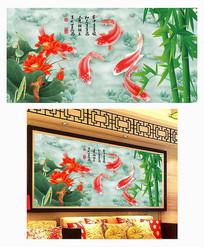 家和万事兴荷花客厅装饰画