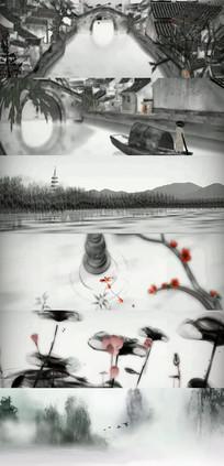 江南水乡水墨动画横幅背景