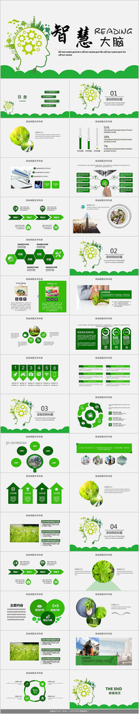 绿色智慧大脑PPT模板