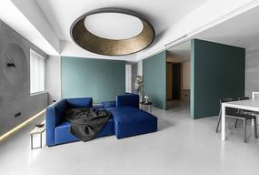 深蓝色浅蓝色搭配客厅