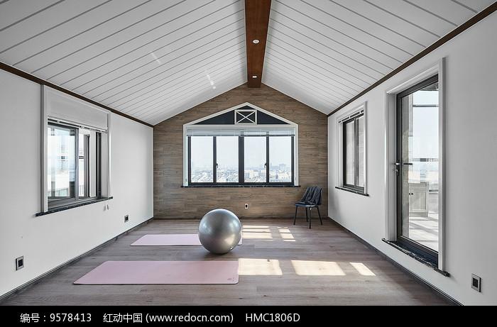 原创设计稿 方案意向 室内装修 现代简约瑜伽房效果图  素材描述:红动图片