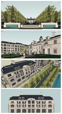 法式会所联排别墅模型