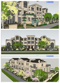 法式联排别墅建筑模型