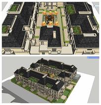 法式联排别墅四合院