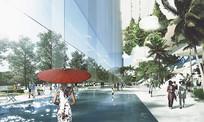 现代化广场街头水景